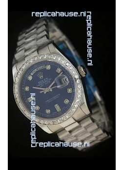 Rolex Day Date Just Japanese Replica Blue Watch in Full Diamond Bezel