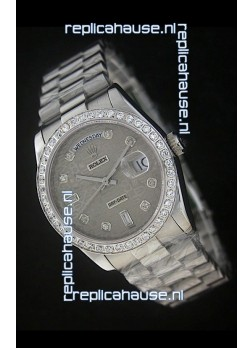 Rolex Day Date Just swiss Replica Watch in Printed Grey Dial