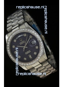 Rolex Day Date Just swiss Replica Watch in Printed Purple Dial