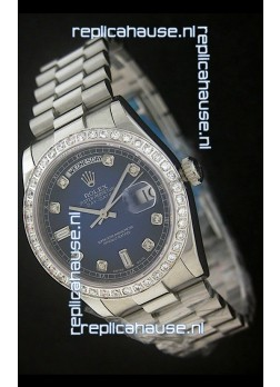 Rolex Day Date Just swiss Replica Watch in Dark Blue Dial