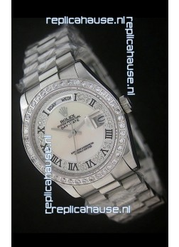 Rolex Day Date Just Japanese Replica Watch in Mop Scream White Dial