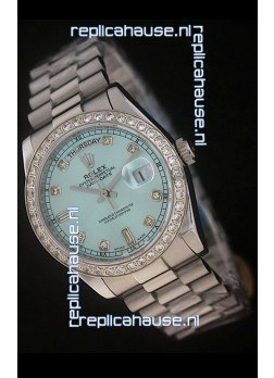 Rolex Day Date Just Japanese Replica Watch in Light Blue Dial
