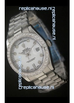 Rolex Day Date Just swiss Replica Watch in Pearl White Dial