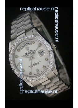 Rolex Day Date Just swiss Replica Watch in White Dial