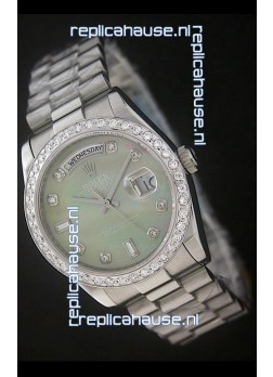 Rolex Day Date Just Japanese Replica Watch in Light Green Dial