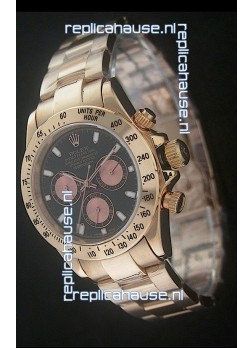 Rolex Daytona Cosmograph Swiss Replica Yellow Gold Watch in Black Dial