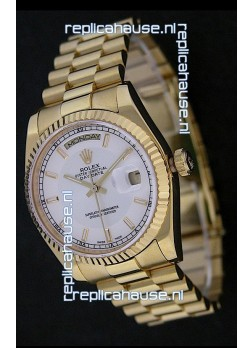 Rolex Day Date Just swiss Replica Yellow Gold Watch