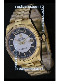 Rolex Day Date Just Japanese Replica Yellow Gold Watch in Black & White Dial
