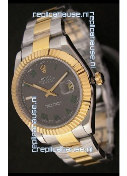Rolex Day Date Just Japanese Replica Two Tone Gold Watch in Grey Dial