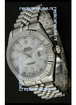 Rolex DateJust Swiss Replica Watch in Mop White Dial