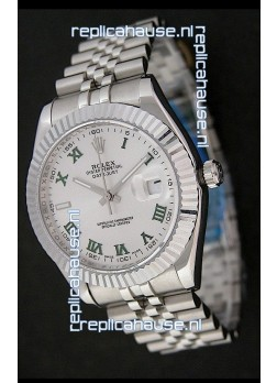 Rolex DateJust Swiss Replica Watch in Green Roman Hour Markers