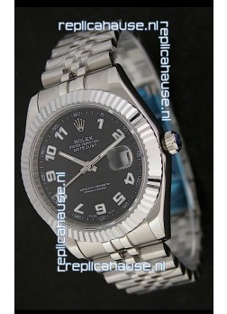 Rolex DateJust Swiss Replica Watch in White Arabic Hour Markers