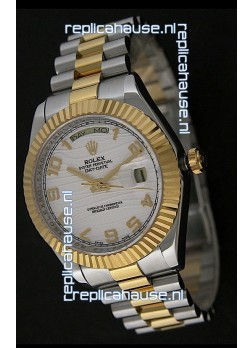Rolex Day Date Just swiss Replica Two Tone Gold Watch in White Stripe Pattern Dial