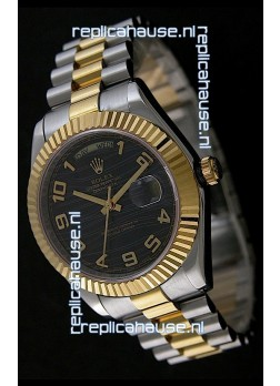 Rolex Datejust Swiss Replica Two Tone Yellow Gold Watch in Black Dial