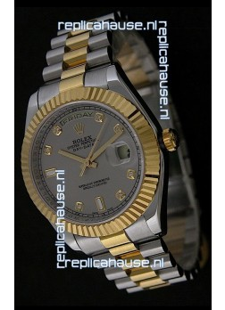Rolex Day Date Just swissReplica Two Tone Gold Watch in Grey Dial