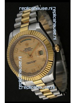 Rolex Day Date Just swiss Replica Two Tone Gold Watch in Golden Stripe Pattern Dial