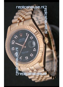 Rolex Datejust Swiss Replica Rose Gold Watch in Black Dial