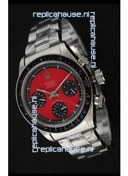 Rolex Daytona Cosmograph Swiss Replica Stainless Steel Watch in Red Dial