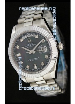 Rolex Oyster Perpetual Day Date Swiss Replica Watch in Black Mother of Pearl Dial