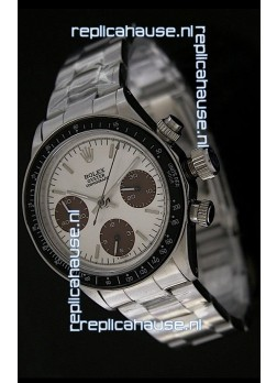 Rolex Daytona Oyster Perpetual Swiss Replica Steel Watch in Brown Sub dial