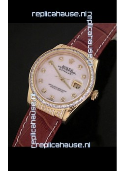 Rolex DateJust Swiss Mens Replica Yellow Gold Watch in White Mother of Pearl Dial