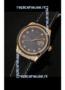 Rolex DateJust Swiss Mens Replica Yellow Gold Watch in Diamond Markers