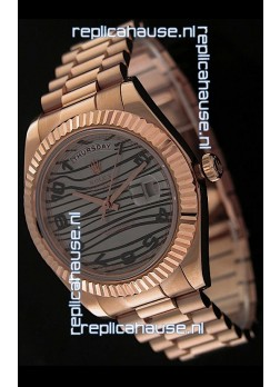 Rolex Oyster Perpetual Day Date Japanese Replica Pink Gold Watch in Waves Pattern Dial