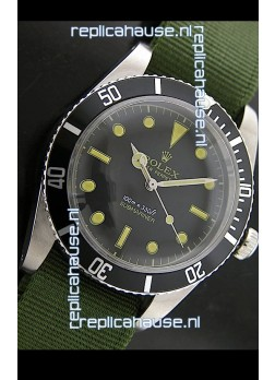 RolexSubmariner Swiss Replica Watch in Domed Crystal Green Nylon Strap