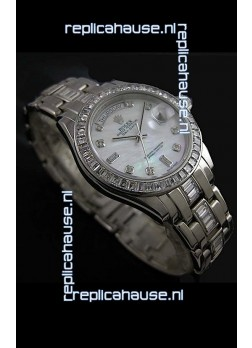 Rolex Oyster Perpetual Day Date Swiss Replica Watch in White Mother of Pearl Dial