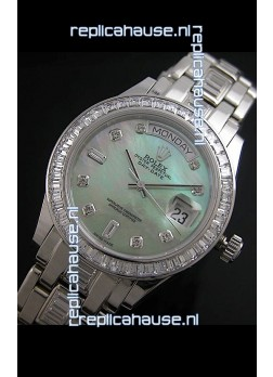 Rolex Oyster Perpetual Day Date Japanese Replica Watch in Green Mother of Pearl Dial