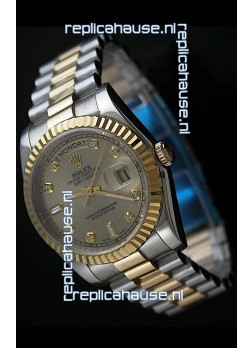 Rolex Day Date Just swissReplica Two Tone Gold Watch in Golden Dial