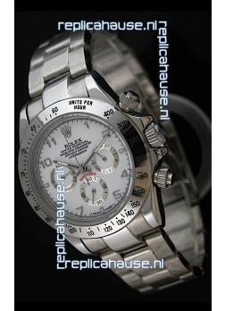 Rolex Daytona Cosmograph Swiss Replica Stainless Steel Watch in White Dial