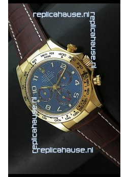 Rolex Daytona Cosmograph Swiss Replica Yellow Gold Watch in Blue Dial