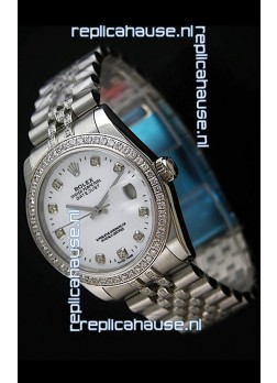 Rolex DateJust Swiss Mens Replica Silver Watch in Diamond Markers