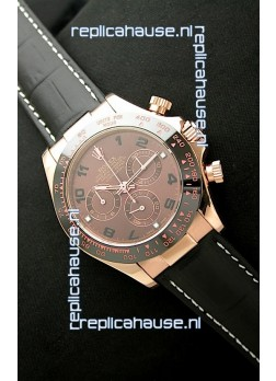 Rolex Daytona Cosmograph Swiss Rose Gold Replica Watch in Brown Dial