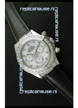 Rolex Oyster Perpetual Cosmograph Daytona Swiss Replica Watch in Black Strap