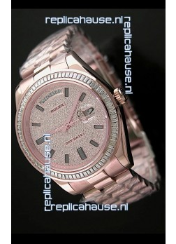 Rolex Day Date Japanese Automatic Rose Gold Watch in Diamond Bezel