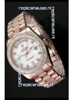 Rolex Oyster Perpetual Day Date Swiss Rose Gold Automatic Watch in Diamond Markers