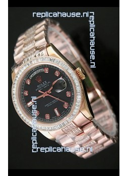 Rolex Oyster Perpetual Day Date Swiss Rose Gold Automatic Watch in Black Dial