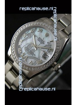 Rolex Oyster Perpetual Date Just Lady Swiss Diamond Watch in Pearl White Dial