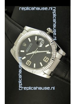Rolex Replica Datejust Swiss Replica Watch - 37MM - Black Dial/Strap