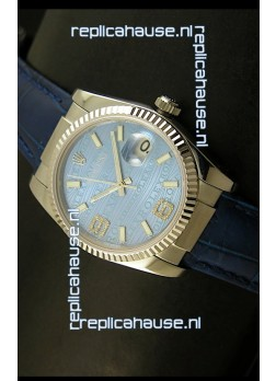 Rolex Replica Datejust Swiss Replica Watch - 37MM - Blue Dial/Strap