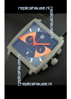 Tag Heuer Monaco Limited Edition Japanese Replica Titanium Watch in Orange Markers