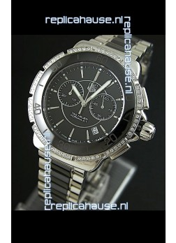 Tag Heuer Formula 1 Chronograph Swiss Replica Ceramic Ladies Watch in Diamond Bezel