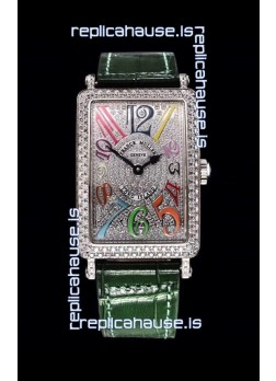 Franck Muller Long Island Color Dreams Ladies Swiss Watch in Green Strap