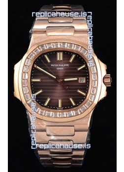 Patek Philippe Nautilus 5711/1R 1:1 Mirror Watch Baguette Diamonds Bezel