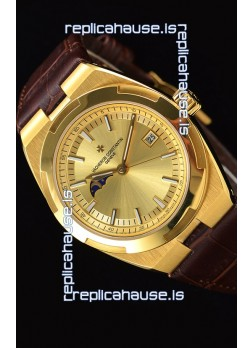 Vacheron Constantin Overseas MoonPhase Yellow Gold Swiss Watch in Brown Strap