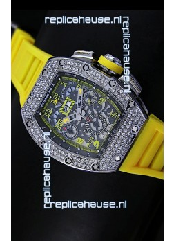 Richard Mille Filippe Massa Edition Titanium Swiss Replica Watch in Yellow Strap