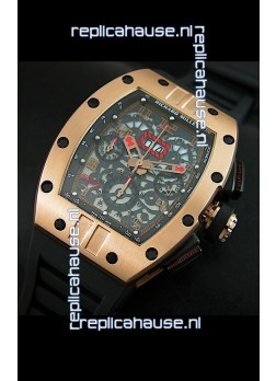 Richard Mille RM011 Filipe Massa Pink Gold on Titanium Casing Swiss Replica Watch