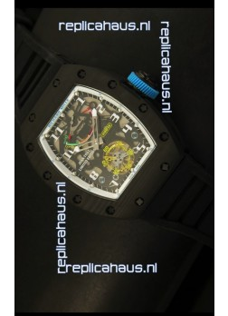 Richard Mille RM036 Jean Todt Forged Carbon Bezel Titanium Watch - All White/Blue Edition